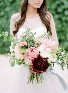 Burgundy Peony - Coral Charm Peony - Blush Peony - Cafe Au Lait Dahlia - Peach Ranunculus - White O'Hara Garden Roses - Romantic Antike Garden Roses - White Tweedia - Spray Roses - Honeysuckle Vine - Mint - Olive Branch (Floral Design: Anchor & Grace) - Elegant Seaside Belle Mer Wedding by Sarah Dennen At Belle Mer (Coordination) + Rebecca Yale Photography