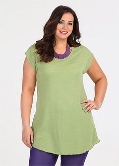 Get Discounts on Plus Size Womens Clothing - DECOROUS CAP SLEEVE TUNIC - TS14