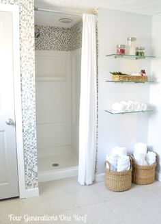 Bathroom Update Ideas: to update a fibreglass walk in shower with mosaic tile by Four Generations One Roof
