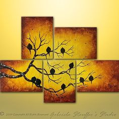 CUSTOM PAINTING Abstract Painting Birds, Tree, Landscape Modern Art by Gabriela 44x32 Rich Texture. $229.00, via Etsy.