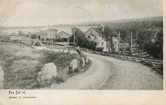 Akershus fylke Eidsvoll kommune Dal stasjon DAL stasjon. Oversikt med veien og stasjon til v. Utg H.Throndsen Postgått 1907