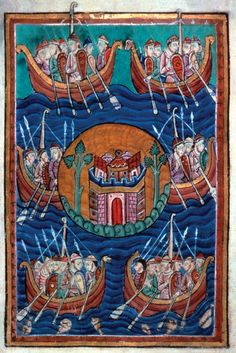 Viking ships arriving in Britain. c. 1130.