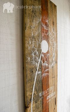 Pallet Art Dandelion Welcome Home Wall by TealElephantBoutique