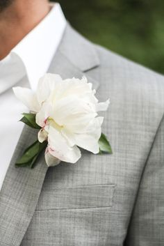white peony boutonniere - Love!