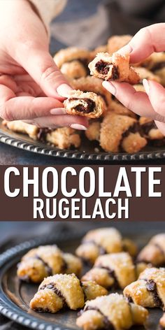 Rugelach Chocolate Rugelach Cookies: Tender cream cheese pastry rolled with dark chocolate. Such a great contrast of flavors!Chocolate Rugelach Cookies: Tender cream cheese pastry rolled with dark chocolate. Such a great contrast of flavors! Pastry Recipes, Baking Recipes, Cookie Recipes, Rugelach Cookies, Cream Cheese Pastry, Cookies With Cream Cheese, Filled Cookies, Cheese Cookies, Tolle Desserts