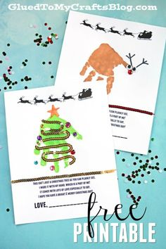 Free Handprint Holiday Poem Printable - Christmas Tree & Reindeer