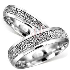 Palladium Celtic Trinity Knot Matching Wedding Band Set  ahhhhhh. <3