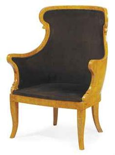 A CONTINENTAL KARELIAN BIRCH AND VELVET UPHOLSTERED BERGERE,  LATE 20TH CENTURY, Wingback Chair, Armchair, Wing Chair, Late 20th Century, Side Chairs, Antique Furniture, Home Furnishings, Birch, Accent Chairs