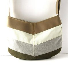 Handcrafted Hobo - Chevron in Tan Vegan Leather Cream Canvas by RACHELelise, $38.00  I love this!
