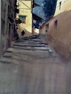 Somaen Soria Spain by Manolo Jimenez - Somaen Soria Spain Painting - Somaen Soria Spain Fine Art Prints and Posters for Sale Watercolor Architecture, Watercolor Landscape, Landscape Paintings, Watercolor Paintings, Watercolours, Landscapes, Guache, Building Art, Great Paintings