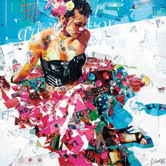 Derek Gores All Summer Long newspaper abstract collage lady in black art print Art Du Collage, Collage Portrait, Collage Artists, Portraits, Rhode Island, Derek Gores, Collages, Recycled Magazines, Illustrations