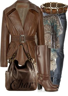 """""""Creamy Chocolate Leather"""" by thefarm on Polyvore"""
