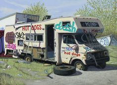 "Valeri Larko. ""Jay's Hot Dogs"". 2015, Oil on panel. 12 x 16 in / 30.5 x 40.6 cm. Courtesy of Lyons Wier Gallery, NY."