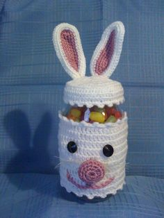 Unique easter holiday gift wrapping ideas craft ideas crocheted rabbit jelly bean jar easter gift for granddaughter iliana negle Choice Image