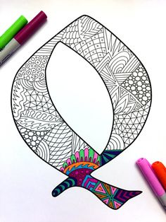 Letter Q Zentangle Inspired by the font Deutsch por DJPenscript