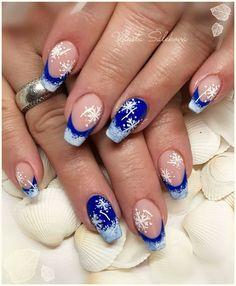 42 deep blue nail art design for winter season page 8 Xmas Nails, Holiday Nails, Christmas Nails, Snowflake Nail Design, Christmas Nail Art Designs, Winter Nail Art, Winter Nails, Seasonal Nails, Nagel Gel
