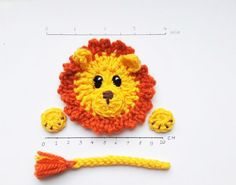 Crochet Lion Applique Safari Animals Crochet Animals by 2mice