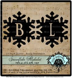 Snowflake Letters, Frozen Alphabet, Monograms,  SVG, Vector, ai,png, eps, png, dxf, Wedding Monogram, Patterns,Overlays, Silhouettes by withwildabandon. Explore more products on http://withwildabandon.etsy.com