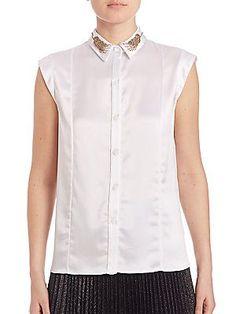 ZAC Zac Posen Julie Embellished Collar Silk Blouse