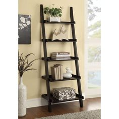 #VinylLaminateFlooring Leaning Bookshelf, Ladder Bookshelf, 5 Shelf Bookcase, Bookcases, Bookshelf Ideas, Modern Bookshelf, Etagere Bookcase, Ladder Shelf Decor, Hanging Ladder