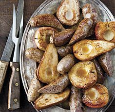 Oven-Roasted Sausages with Riesling, Apples, and Pears recipe from Chef Joanne Weir.