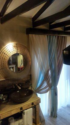 Rustic meets grandeur... open plan bath and master bedroom