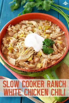 Slow Cooker Ranch White Chicken Chili | SouthernBite.com