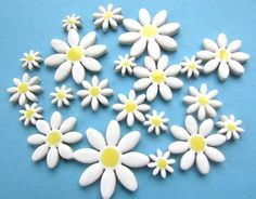 21 pretty ceramic white daisy tiles fantasic by RedShedCeramics, $10.00