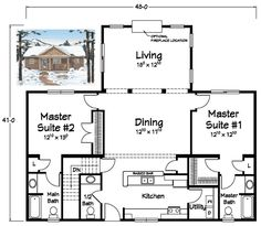 single level house plans with two master suites fascinating amazing decoration idea with top ranch style house plans with two master suites in simple decor inspirations with ranch one story home plans 2 Bedroom House Plans, Lake House Plans, House Plans One Story, Ranch House Plans, Cottage House Plans, Story House, Cabin Plans, Small House Plans, House Floor Plans