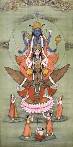 Lakshmi-Narayana on Garuda Artist: Mahaveer SwamiThe Art of Bikaner – Mahaveer Swami (via Museum Of Sacred Art) / Embodied Mughal Paintings, Indian Art Paintings, Om Namah Shivaya, Krishna Art, Radhe Krishna, Hanuman, Durga, Goddess Art, India Art