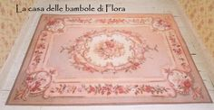 Antique Aubusson rug (large) - 1/12 dolls house dollhouse miniature. $25.00, via Etsy.