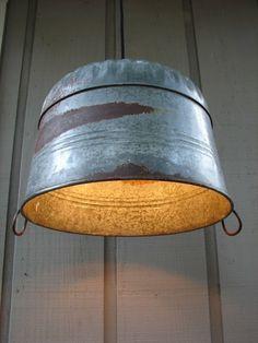 Upcycled Galvanized Farm Tub Pendant Light by BenclifDesigns, via Etsy. Galvanized Tub, Rustic Lighting, Cabin Lighting, Industrial Lighting, Industrial Design, Rustic Decor, Primitive Decor, Rustic Lamps, A 17