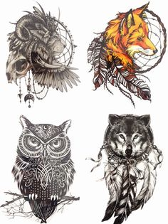 Save More! 4PCS/SET Hot Sale Combo Fox Wolf Owl Lion Temporary Tattoo Combo