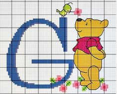 Winnie the Pooh Alphabet Cross Stitch Pattern Pooh F Cross Stitch Letters, Cross Stitch For Kids, Beaded Cross Stitch, Cross Stitch Baby, Cross Stitch Charts, Cross Stitch Embroidery, Disney Stitch, Crochet Alphabet, Disney Alphabet