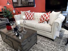 Red, Gray, White Living Room And Interior Design By Lucia Gentry Of Star  Furniture
