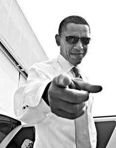Barack Obama pointing with sunglasses on
