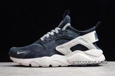 311c2234a68f3 Women Men Nike Air Huarache Run Ultra Midnight Navy Grey-White 829669-402