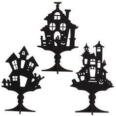 """H3219048 - 11.5"""" GLITTERED HALLOWEEN HOUSE SILHOUETTE ON STAND"""