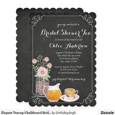 Elegant Teacup Chalkboard Bridal Shower Invitation