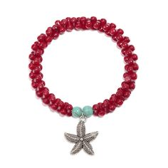 Shop for handmade coral stretch Bracelet,okajewelry Handmade Red Coral starfish Charm stretch Bracelet features a chain composed of coral beads.
