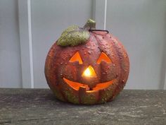 """7"""" LIGHTED CERAMIC THANKSGIVING PUMPKIN RUSTIC FALL HANGING OR TABLE #Unbranded"""