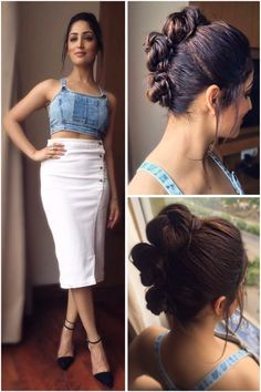 Glam Gal - Yami Gautam Glam Point - Launch of Lifestyle Store in Glam Check - A white denim skirt and a blue denim crop top by Lifestyle. Glam Tip - Add immediate glam to a casual outfit with an interesting hairdo! -Your Glam Pal, Srishti Indian Bollywood Actress, Bollywood Fashion, Indian Actresses, Cute Celebrities, Bollywood Celebrities, Celebs, Crown Hairstyles, Updo Hairstyle, Beautiful Actresses