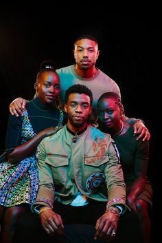 """Black Panther"" castmates Chadwick Boseman, Michael B. Jordan, Lupita Nyong'o and Danai Gurira see personal and political potency in Marvel's first black superhero film. Black Panther Marvel, Shuri Black Panther, Black Panther Movie Cast, Black Panther 2018, Vinyl Pants, Michael B. Jordan, Wakanda Marvel, Iron Man, Chef D Oeuvre"