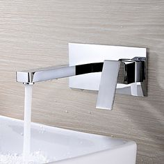 Contemporary Wall Mounted Rotatable with Ceramic Valve Single Handle Two Holes for Chrome , Bathroom Sink Faucet 1736219 2017 – $70.49