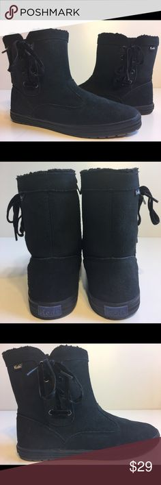 Keds Sunny Side Women's Size 7.5 Black Booties Pre Owned condition - Style: WH45727M - Black Faux Fur - Ankle Bootie - Zipper on inside Ankle, Lace up on outside Ankle, rubber soles. Keds Shoes Ankle Boots & Booties