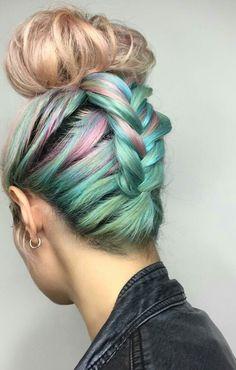 Braided up rainbow dyed bun hair @chitabeseau