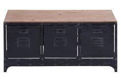 "Petyr Storage Bench, Black/Natural 39""W x 16""D x 19""H ($360.00)  $249.00 OneKingsLane.com"