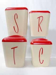 Vintage Retro Bakelite Eon Kitchen Canisters Set Of 4