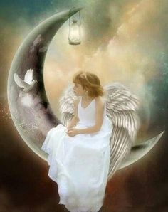 Angel and dove on the moon Angels Among Us, Angels And Demons, Dark Angels, I Believe In Angels, Ange Demon, Angel Pictures, Beautiful Angels Pictures, Moon Pictures, Angels In Heaven