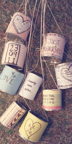 DIY Just Married Tin Cans
